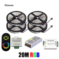 20M 5050 RGB strip light 60Leds/M SMD Flexible Led Strip+Wireless Touch Remote Controller+24A Amplifier+20 A Power Supply WLED25