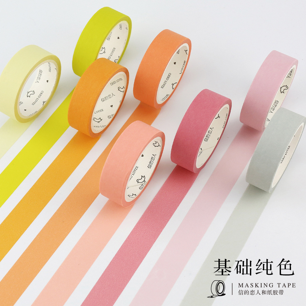 1 Roll 24 Colors Cute Japanese Washi Tap Basic Color DIY Decorative Adhesive Tape Scrapbooking Masking Tape Sticker Post It