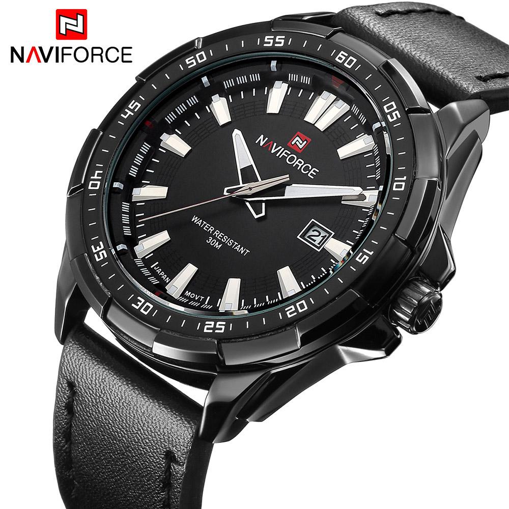 Prix pour Nouveau Luxe Marque NAVIFORCE Montres Hommes Quartz Heure Date En Cuir Horloge Homme Sport Armée Militaire Montre-Bracelet Relogio Masculino