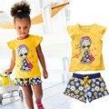 2016 малышей девушки летний отдых одежда женский детский с коротким рукавом + печать шорты девушки одежда