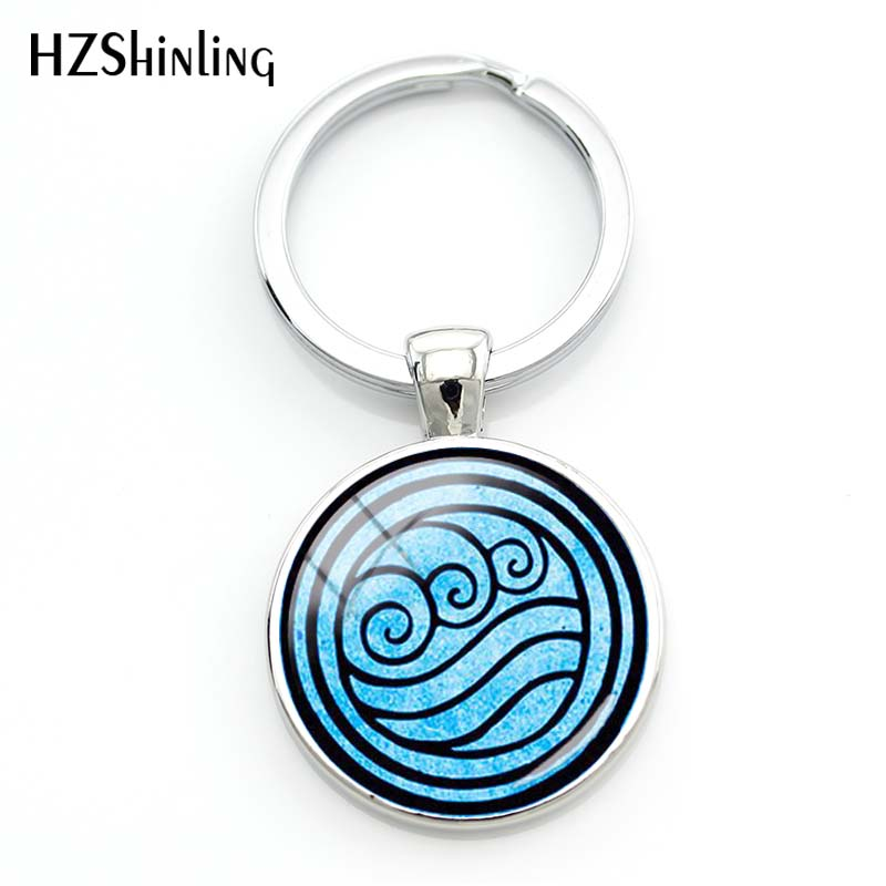 2019 New Avatar The Last Airbender Keychain Kingdom Jewelry Air Nomad Fire And Water Tribe Pendant Glass Dome Key Chain Gift