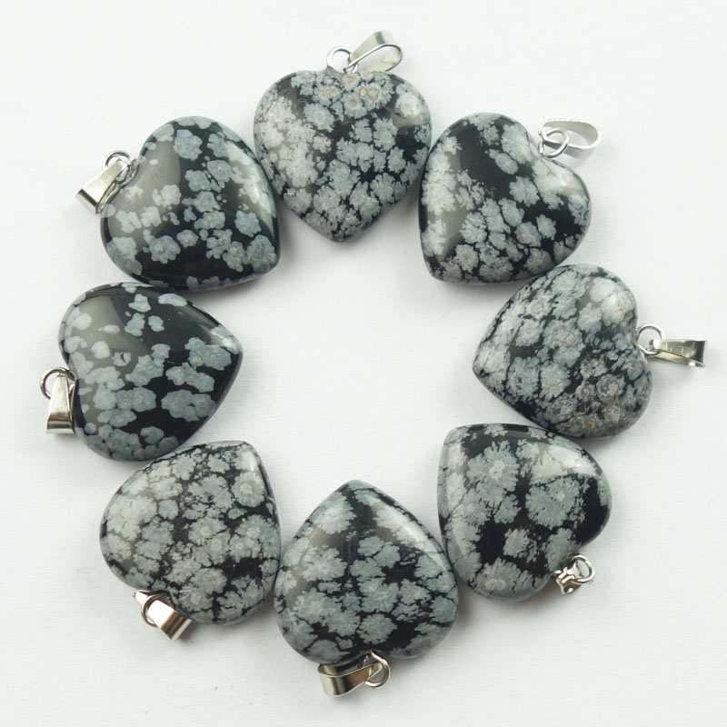 10Pcs Snowflake Obsidian Heart 20x20x6mm Pendant Bead Th180914(Send Randomly)