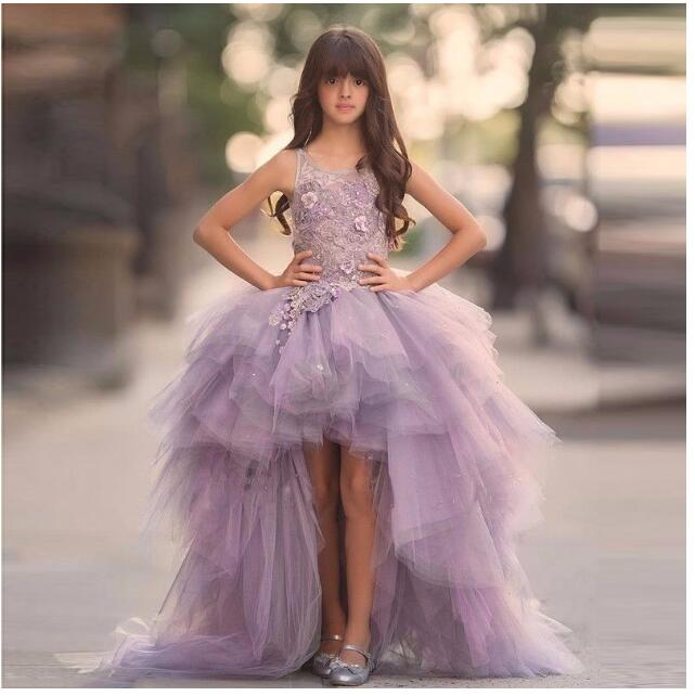 Girls Wedding Formal Dresses 2018 Catwalk Tailing Gauze Birthday Ball Gown Flowers Girls Princess Dresses Kids Long Party Dress girls wedding formal dresses 2018 lace tailing catwalk gauze prom ball gown flowers girls princess dress kids long party dress