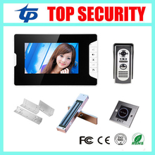 Free shipping 7inch video doorphone video doorbell system include electric magnetic lock+ZL bracket+infrared exit button