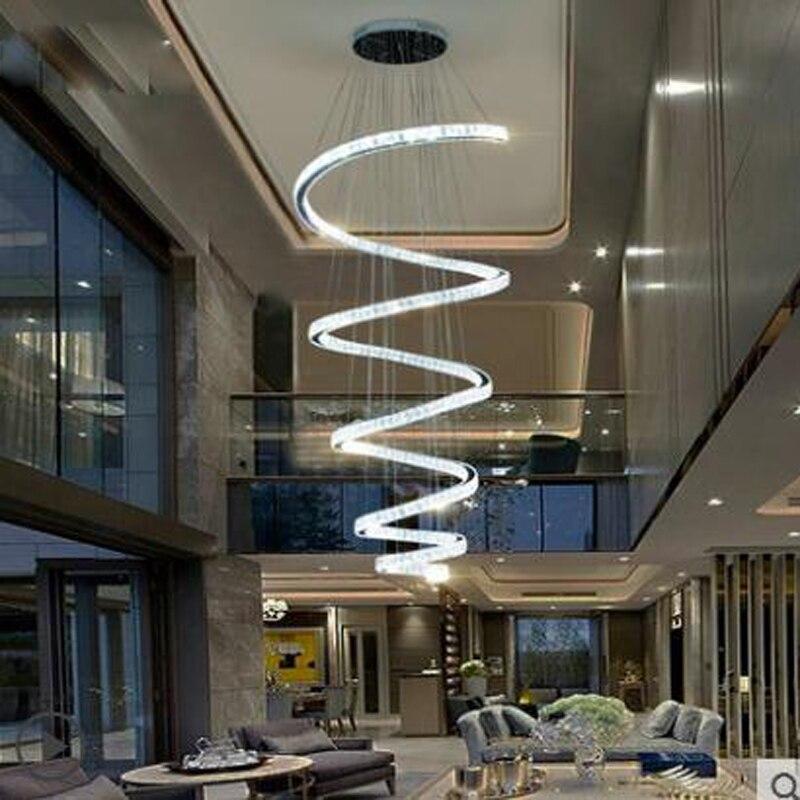 European crystal chandelier hotel villa living room modern minimalist luxury atmosphere Duplex ring hall strip lamps led fixture