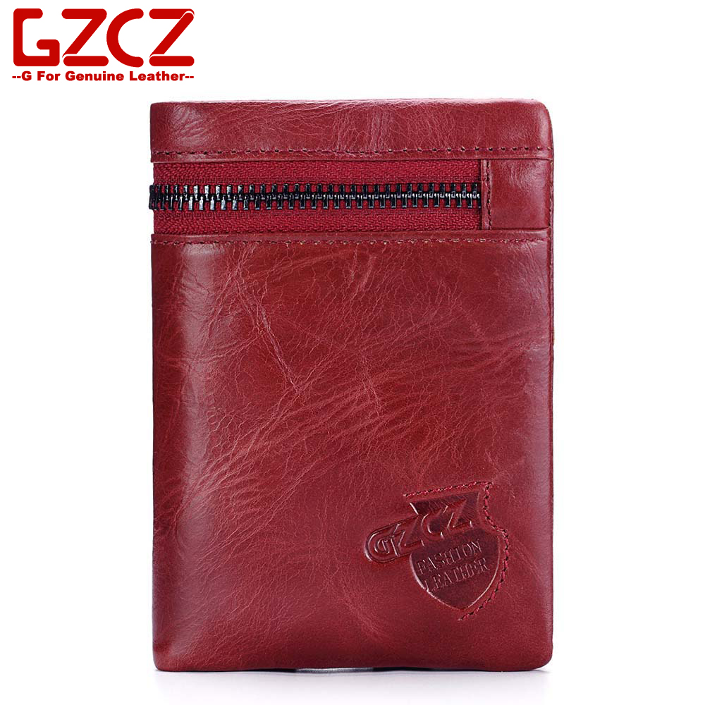 GZCZ Women Wallet Genuine Leather Luxury Designer Vallets Zipper Pouch Fashion Slim Coin Pocket Portomonee Rfid Women Purse