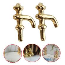 2pcs/lot 1:12 Scale Dollhouse Faucet Diy Cabin Metal Material Water Tap Faucet Miniature Golden Faucet Dollhouse Accessories(China)