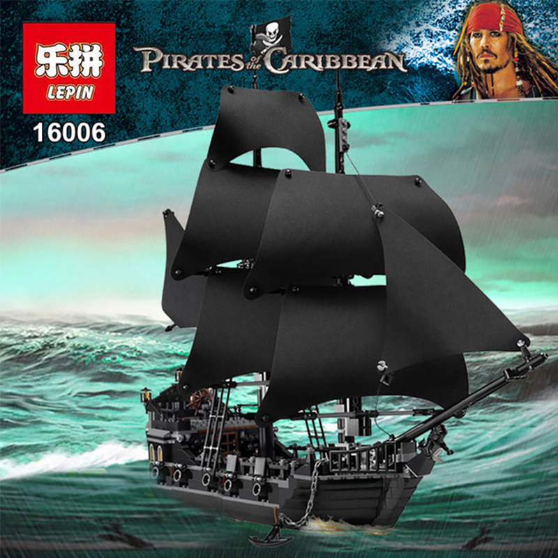 LEPIN 16006 804pcs Pirate ship Pirates of the Caribbean The Black Pearl Building Blocks toys for children Gifts 4184 brinquedos lepin 22001 imperial warships 16006 black pearl ship model building blocks for children pirates series toys clone 10210 4184