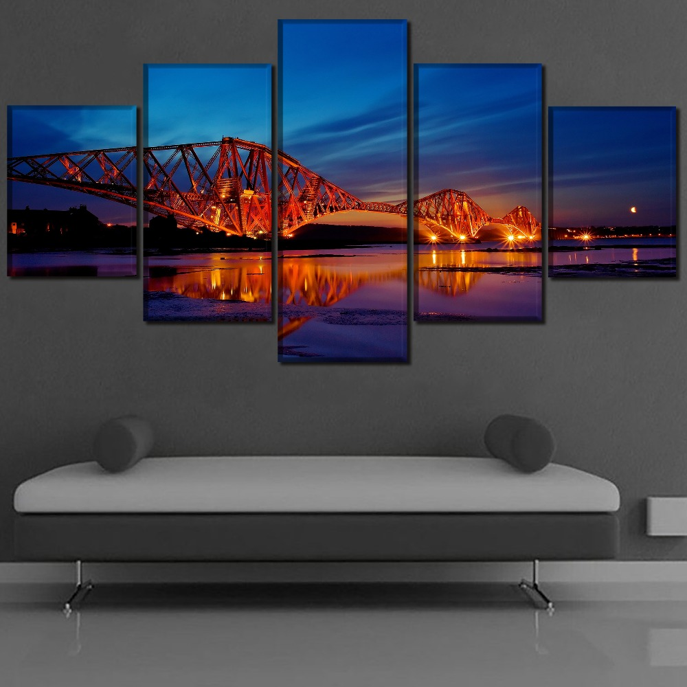 Bridge Modern Decor Landscape Painting Home Picture Wall Art Canvas HD Printed Paintings Artwork