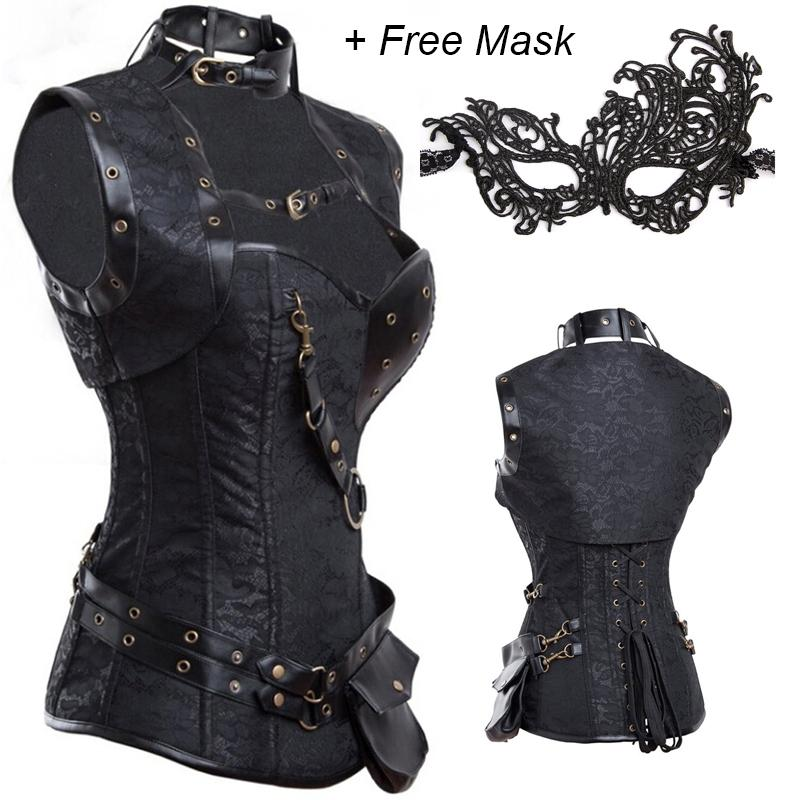 ! Steampunk Corset Top Retro Goth Steel Boned Brocade Vintage Waist Trainer Corsets Corselet +FREE Masquerade Mask - Beauty Date store