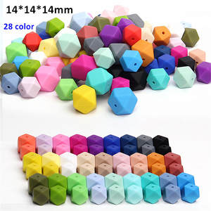 1000pcs/lot BPA Free 14mm Loose Silicone Hexagon Beads for baby pacifier teether necklace