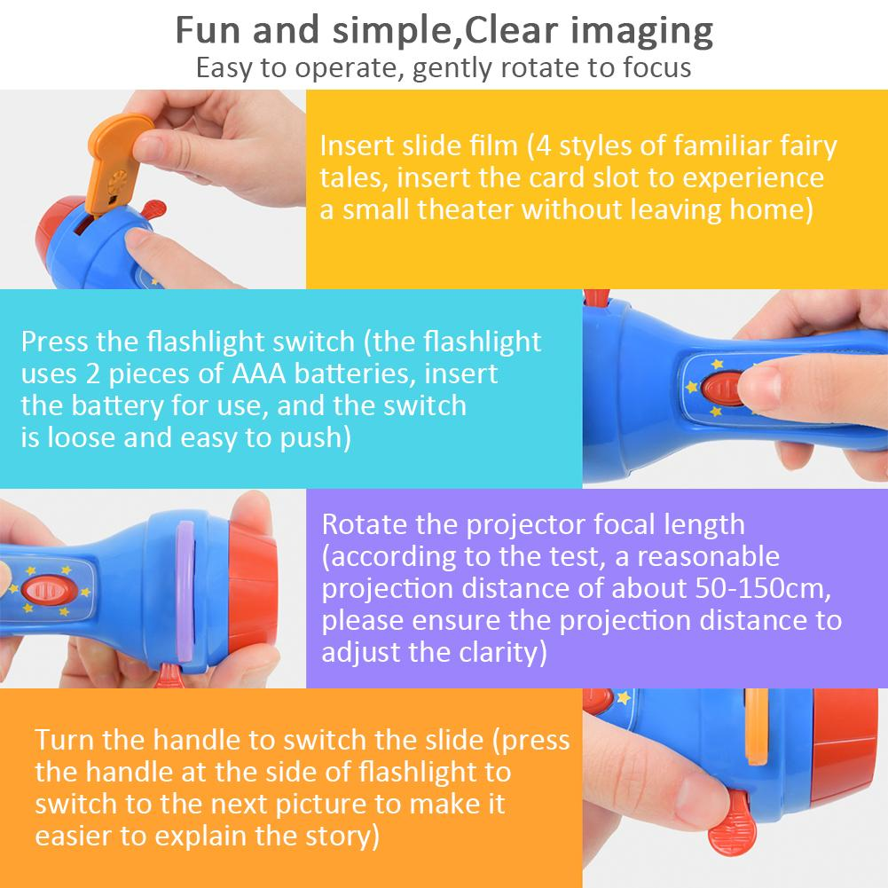Fun Play Projector Torch Educational Light-up Game Toys for Children Kid Develop