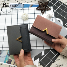 MINOFIOUS Women Matte Leather Small Wallet PU Leather Short Letter Purse Solid Patchwork Purse Credit Cards Money Mini Wallet cheap Panelled Coin Pocket Card Holder Note Compartment Photo Holder Casual Polyester 0 1kg Mini Wallets 1 5cm Zipper Hasp 11 5cm