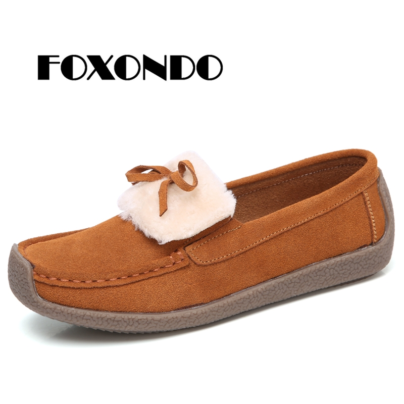 FOXONDO Autumn Women Flats   Leather     Suede   Slip on Fringe Loafers Shoes Ballet Flats Cowhide Flexible Boat Oxford Shoes warm shoe