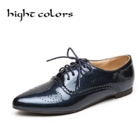 HIGHT COLORS British Retro Oxford Shoes for Women Patent Leather Pointed Toe Flat Shoes Women Brogues Oxfords Lace up Size 33~45