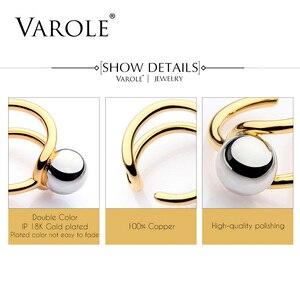 Image 5 - VAROLE moda podwójna linia Knotting Midi pierścienie dla kobiet złoty kolor srebrny 100% miedzi Anillos pierścień biżuteria Bagues Mujer Anel