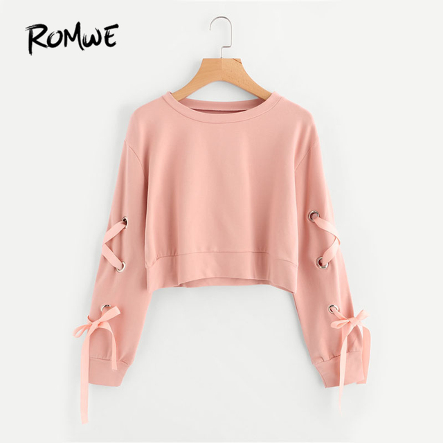 fbb2f2cfd ROMWE Eyelet Lace Up Sleeve Crop Sweatshirt Autumn Pink Round Neck ...
