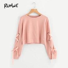 ROMWE Eyelet Lace Up Sleeve Crop Sweatshirt Autumn Pink Roun
