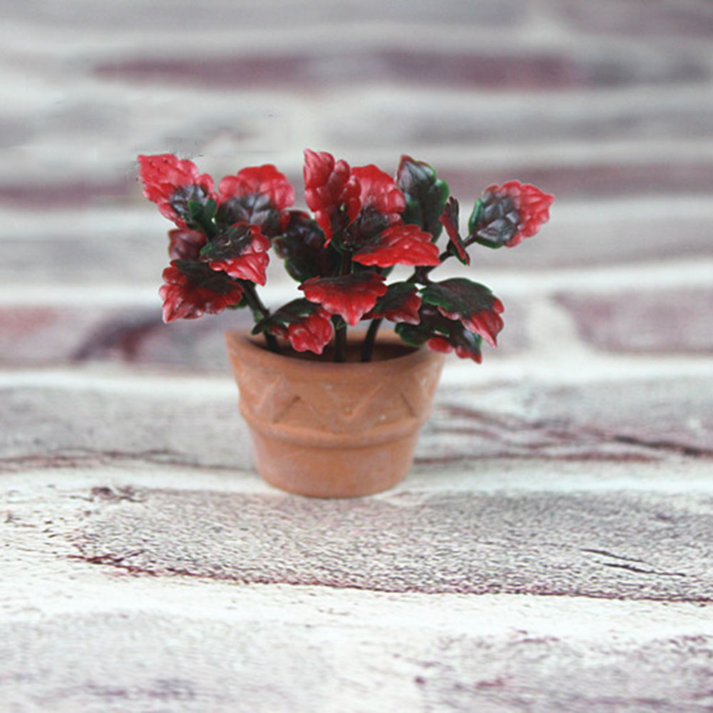 1/12 Dollhouse Miniature Accessories Mini Ceramic Flower Pot With Leaf Simulation Potted Plant Model Toys For Doll House Decor