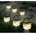 Solar Powered Outdoor Glass Garden Decking Lights Hanging Lantern with Rope Warm white/white/RGB Light