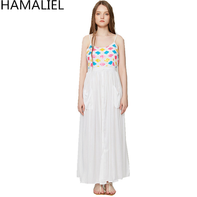b193ef75008d HAMALIEL New 2018 Summer Desert Style Maxi Dress Women White Spaghetti Strap  Sexy Backless Color Sequined Back Bow Long Dress