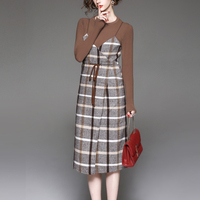 DoreenBow Autumn Winter Plaid Vintage Dress HIGH QUALITY Long Sleeve Sashes Women Coffee Tops Strap Dress