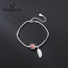 Todorova Literary Feather Pink Strawberry Crystal Temperament Creative Female Sweet Trendy Resizable Bracelets for Women Jewelry