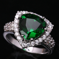Impressive Triangle Gems Green Cubic Zirconia 925 Sterling Silver Fashion Jewelrys For Women S Rings US