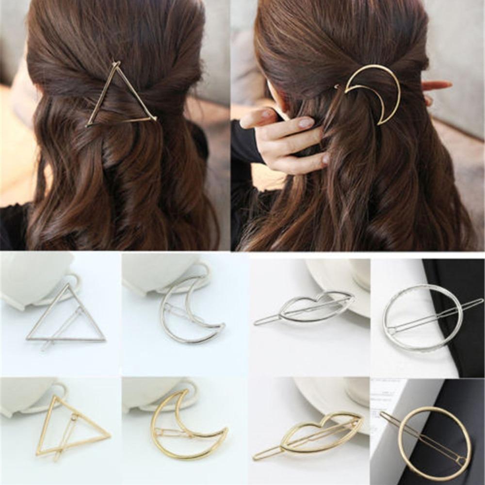 New Fashion Women Girls Gold/Silver Plated Metal Triangle Circle Moon Hair Clips Metal Circle Hairpins Holder Hair Accessories