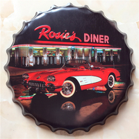 CAR DINER Large Beer Cover Tin Sign Logo Plaque Vintage Metal Painting Wall Sticker Iron Sign Bar KTV Store Decorative 40X40 CM