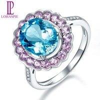 LP Natural Gemstone Aquamarine Sapphire Diamond Engagement Ring Solid 14K White Gold Trendy Jewelry For Women's Gift NEW