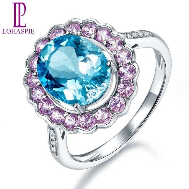 55501103e15a LP Natural de piedras preciosas aguamarina zafiro diamante anillo de  compromiso sólido 14 K oro blanco
