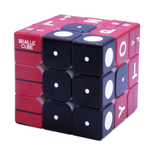3x3x3 Braille Number Fingerprint Relief Effect Magic Cube Puzzle Game for Blind Playing Gift