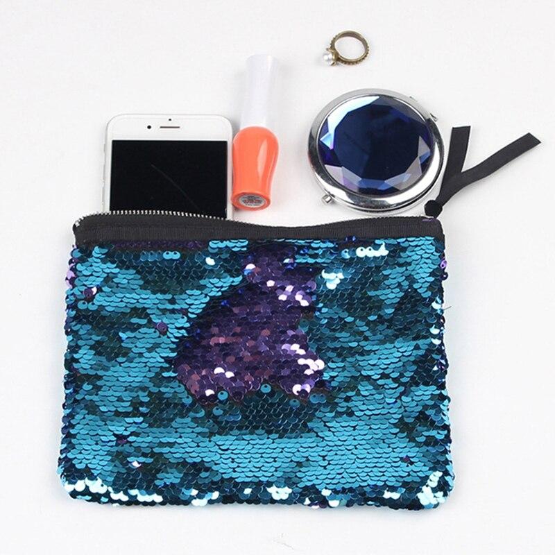 JULY'S SONG 2018 New Women Doule Side Sequins Handbag Bling Bling Bag For Beach Mermaid Cosmetic Bag Toiletry Bag j p beach autumn song
