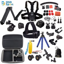 DSD TECH for Gopro accessories set go pro hero 5 4 3 2kit mount 3 way selfie stick for sjcam SJ5000 case xiaomi yi tripod S20