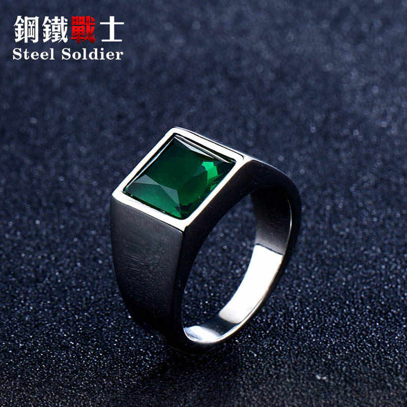 steel soldier Titanium Ring for Man blue Green Square Stone 316L Stainless Steel Fashion high polish Ring for Boy