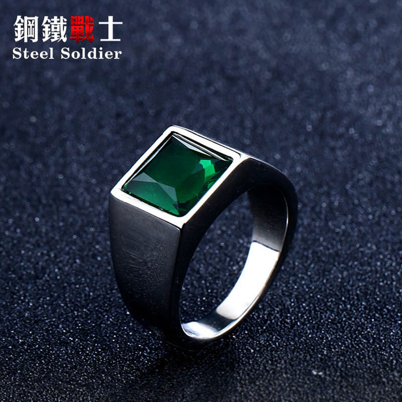 steel soldier Titanium Ring for Man blue Green Square Stone 316L Stainless Steel Fashion high polish Ring for Boy|Rings|   - AliExpress
