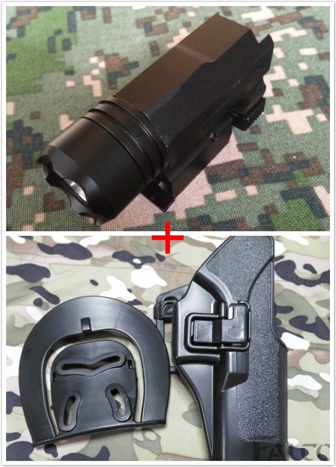 2in1 Tactical pistol Glock 17 Holster + LED Flashlight Combo Hunting Laser for Pistol Guns Glock 17 HK USP