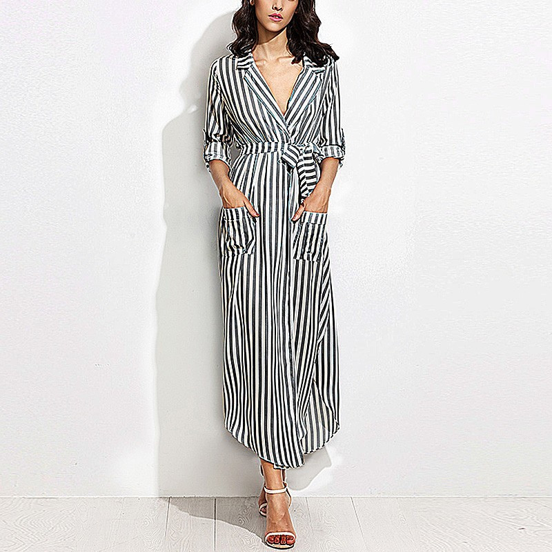 Celmia 2017 women vertical striped long shirt dress ladies Women s long sleeve shirt dress
