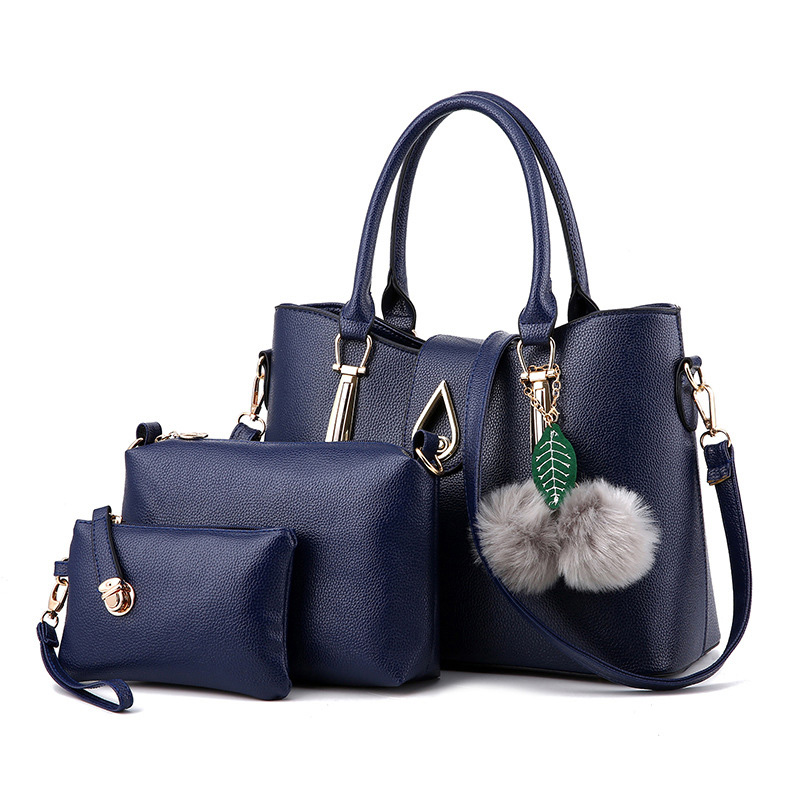 3 Pcs Set Fashion Handbags Women Messenger Shoulder Bag Female Purse Solid Shoulder Bags Ladies Casual Tote New Top-Handle Bag 2pcs set vintage handbags women messenger bag female purse solid shoulder office lady casual tote genuine leather top handle bag
