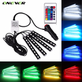 4 PCS RGB LED Luz de Tira Do Carro Atmosfera Lâmpada 16 Cores Estilo Do Carro Atmosfera Decorativa Lâmpadas Car Interior Luz Com remoto