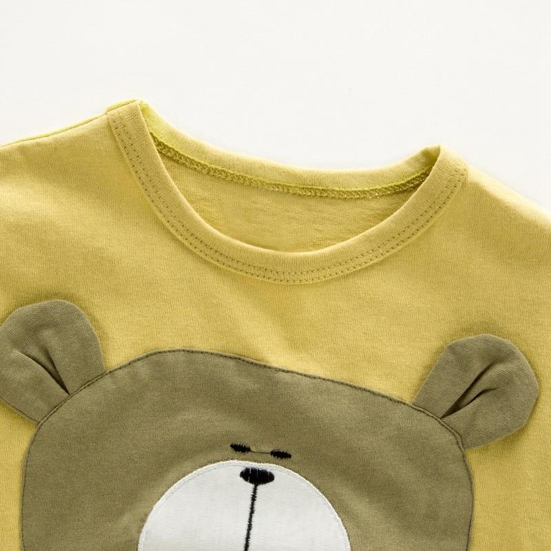 CROAL CHERIE 2 шт. дети Комплекты одежды для мальчиков Милые Животные медведь Изделие из хлопка с короткими рукавами футболка + брюки Детские кост...