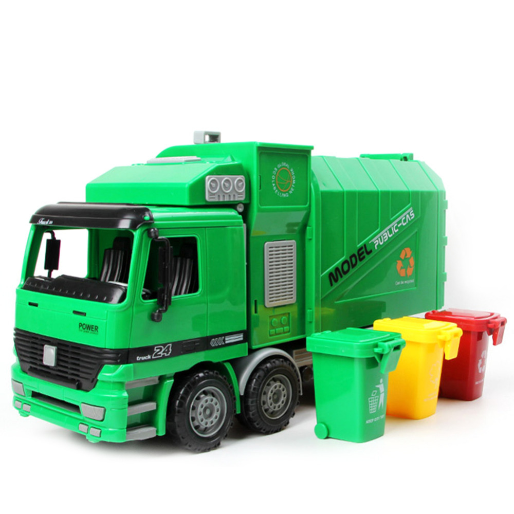 Hot sale 1pc 1:22 Large Size Children Simulation Inertia Garbage Truck Sanitation Car Toy Kid toys Wholesale children inertia toy car simulator ladder truck firetruck