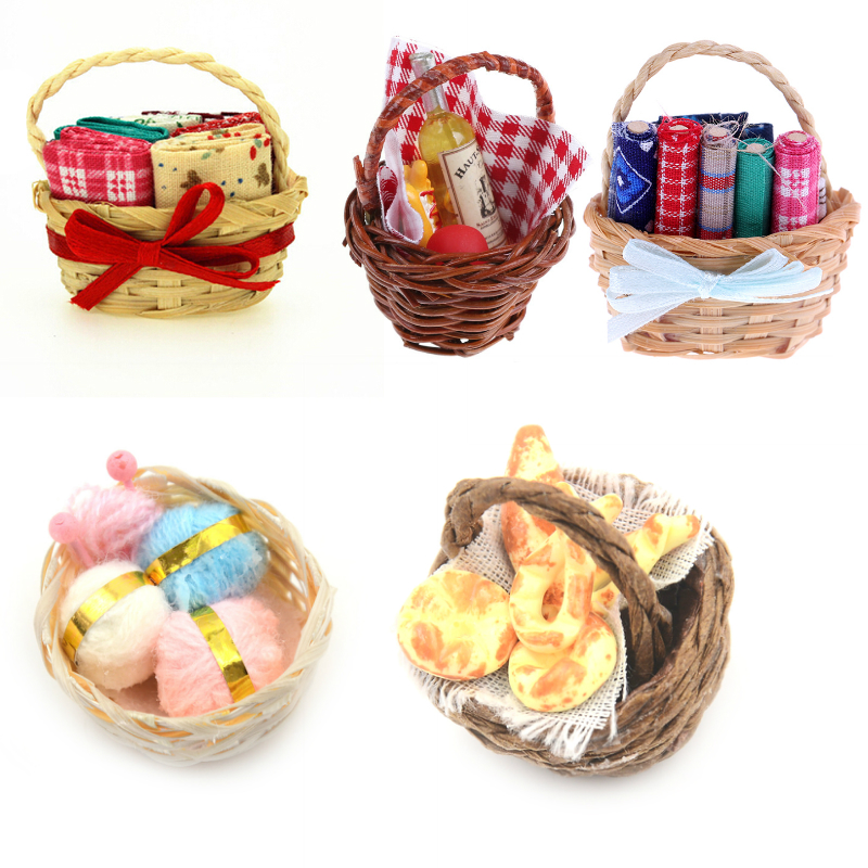1:12 Mini Food Milk Bread Basket/Vegetables Basket/Picnic Simulation Miniatures For Doll House Ornaments Toy Kids Gift