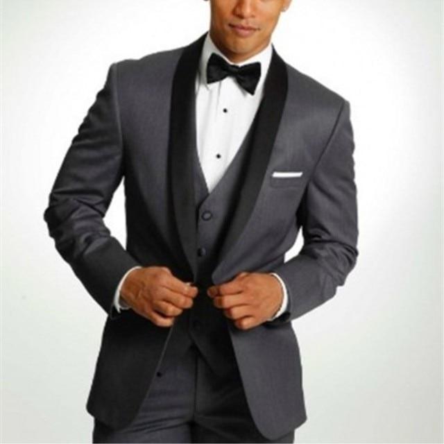 Cheap Dark Grey Black Men Suits Groom Tuxedos Wedding Suits for Men ...