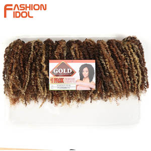 Image 3 - FASHION IDOL Mongolian Afro Kinky Curly Weave Hair Bundles Full Head 3Pcs/Pack 6 Inch Synthetic Hair Extension Free Shipping
