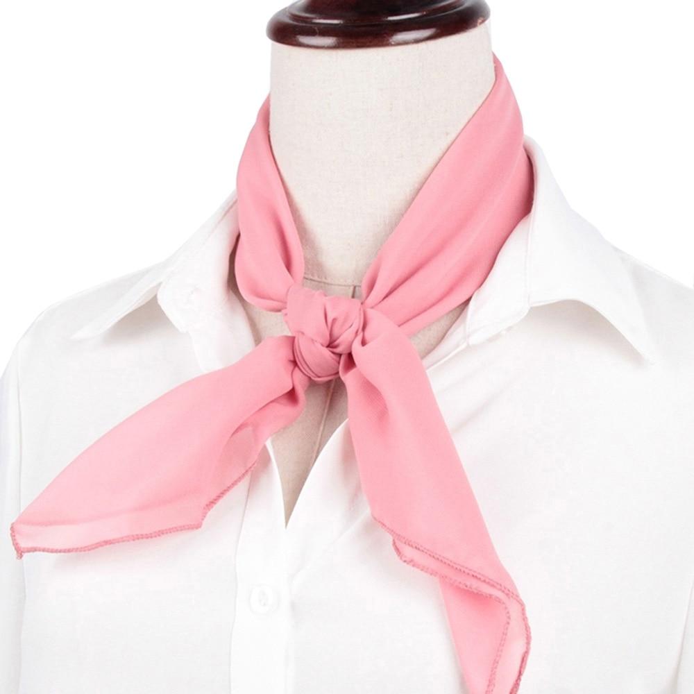 Women Mini Soft Chiffon Neck Scarf Solid Plain Multiple Color Bandana Square Neckerchief 60CM Fashion Accessories 038-435