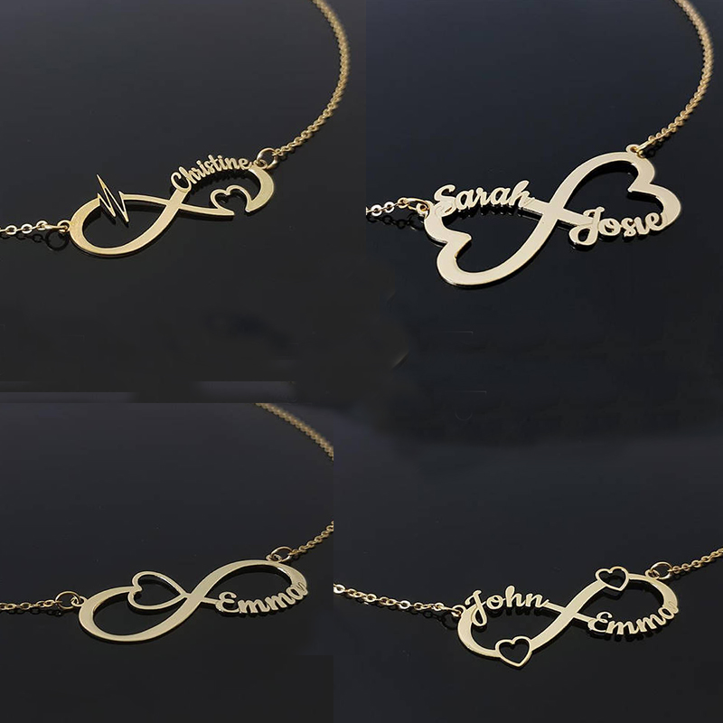 Custom Infinity Name Necklace Personalized Silver Gold Heart Choker Necklace Women Men BFF Name Necklace Couple JewelryCustom Infinity Name Necklace Personalized Silver Gold Heart Choker Necklace Women Men BFF Name Necklace Couple Jewelry