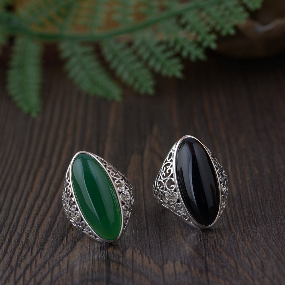 FNJ 925 Silver Oval Ring Black Green Stone Original S925 Sterling Thai Silver Rings for Women Jewelry Adjustable Size