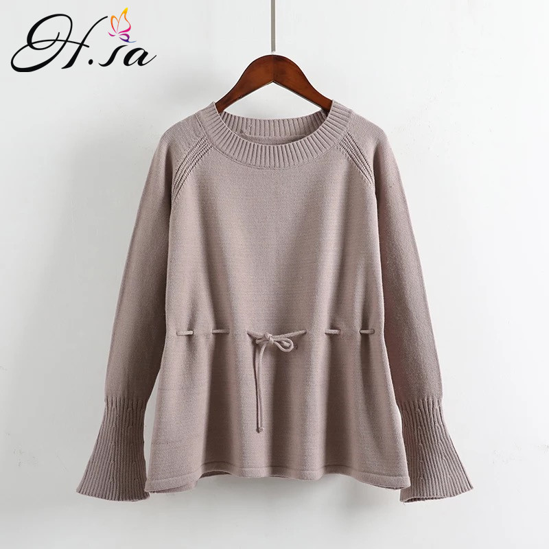H.SA Women New Winter Spring Casual Pullover and Sweaters Oneck SashedKnitted Flare Sleeve Christmas Sweater Pull Femme 2018
